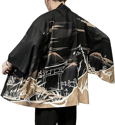 Hombres Vintage Japonés Kimono Camisa Haori Cloak Abrigo Estampado Manga Larga Holgado Cárdigan: Amazon.es: Ropa y accesorios