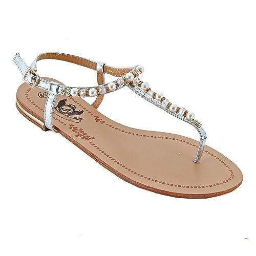 759b312d7afd Guilty Heart - Womens Sparkle Rhinestone Sling Back Summer Casual Flat  Thong Sandal (6 M