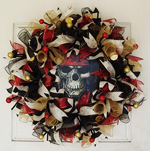Dread Pirate Roberts Costumes (Creepy Pirate Skull Skeleton Deco Mesh Front Door Wreath, Party Decoration, Halloween Prop Decor, Porch Patio Outdoor Wall Gift)