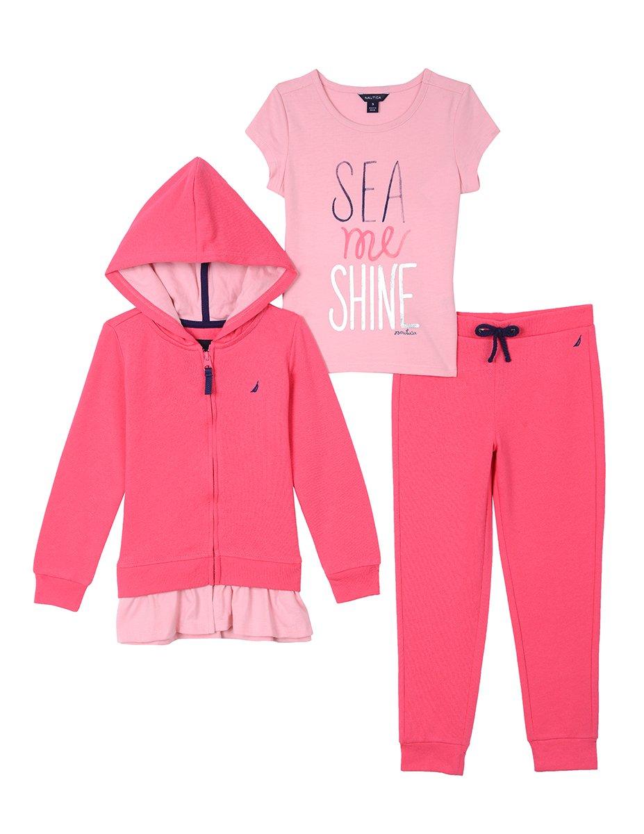 Nautica Girls Fleece Hoodie, Knit Top & Fleece Jogger