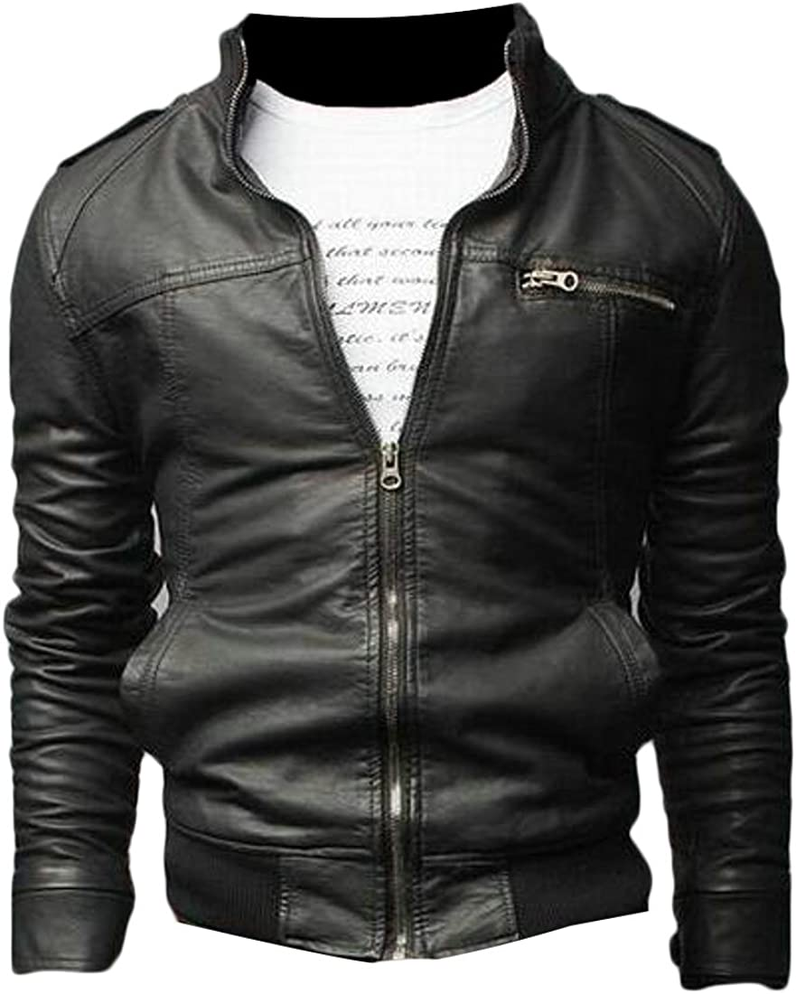 MOUTEN Mens Full-Zip Fall /& Winter Outerwear Casual Slim Pu Leather Moto Jacket Coat
