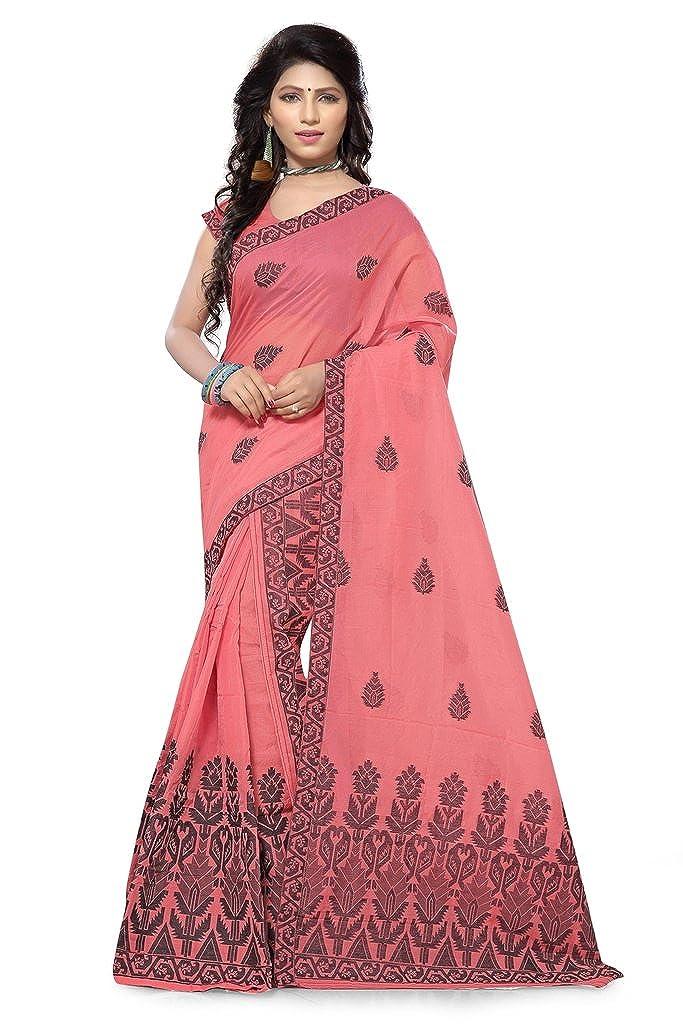 S Kiran's Women's Cotton Assamese Weaving Chanderi Mekhela Chador (Peach, Free Size)