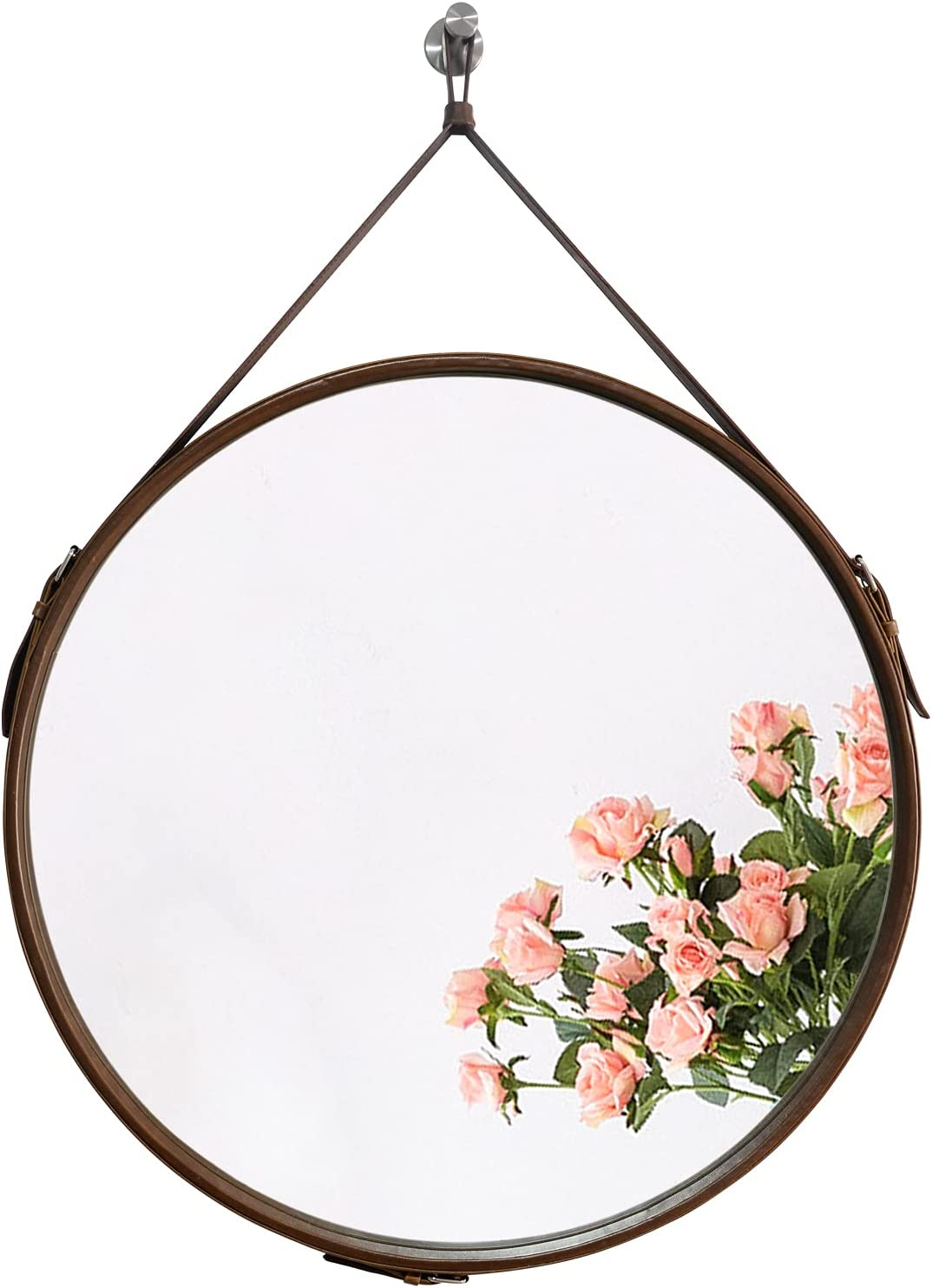 Handmade Leather Hanging Wall Mirror - 19.7 Inch Brown Leather Frame Bathroom Mirror, Large Circle Adjustable Mirror for Wall Decor, Bedroom, Living Room & Entryway.