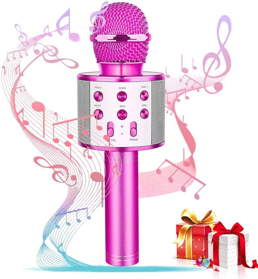 Ideal Gift for Kids Birthday Present Zayyd Toys for 3-10 Year Old Girls Wireless Handheld Bluetooth Karaoke Microphone for Home Party Pink