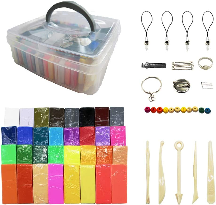 32 Color DIY Colored Polymer Clay Creative Street Model Clay Soft Molded Oven Baking Clay Kit w/Storage Box with Tools and Accessories 750GR
