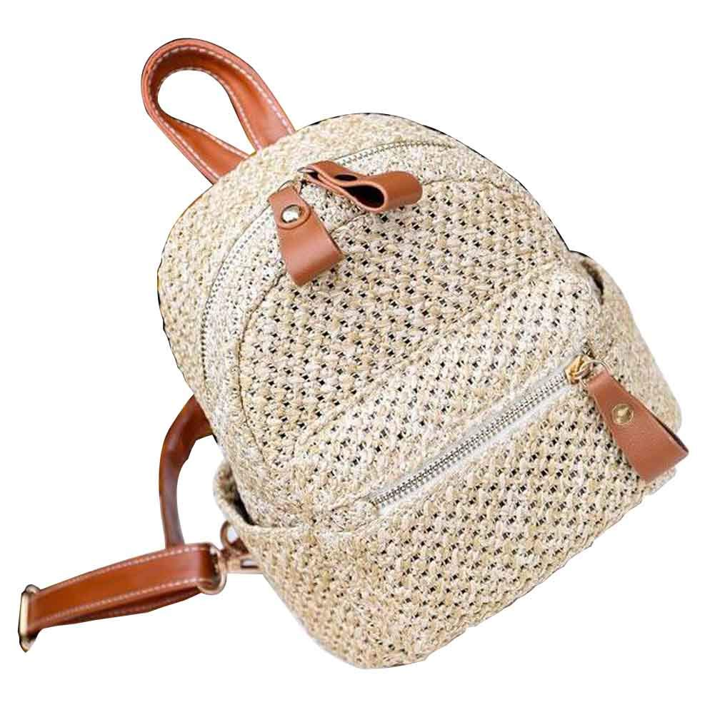 Straw Bag Handmade Beach Summer Bag Straw Backpack for Travel [A]