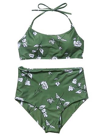 747cf6512bbdd Verochic Women s Vintage Floral Print Push Up High Waisted Bikini Set  Bathing Suit (Green