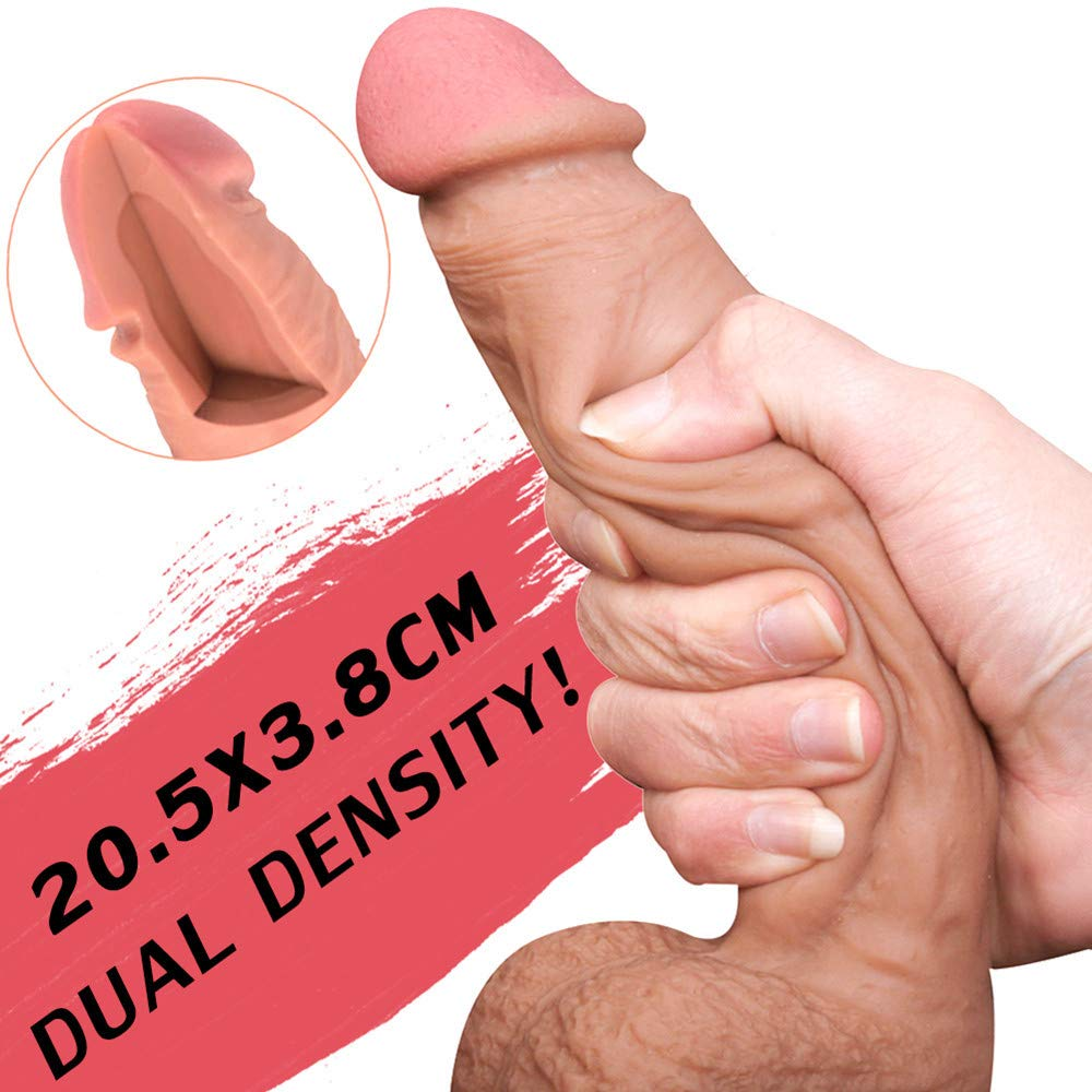Realistic Dildo Feelingirl 8.27inch Lifelike Silicone Huge Penis 360° Rotation Flexible Real Dong Woman Anal Sex Toys with Suction Cup by Feelingirl