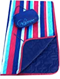 Kamee - #1 Outdoor Blanket, Sandless Beach Blanket, Picnic Blanket 7.5' x 5' - Poncho Liner, Woobie - Nautical Stripes