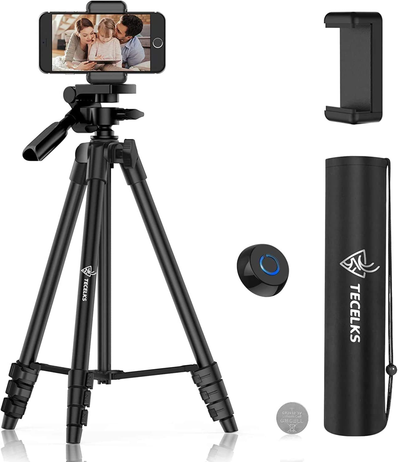 """Cell Phone Tripod 55"""", Lightweight Aluminum Travel/Camera Tripod Stand with Wireless Remote, Carry Bag for TIK Tok/Photography/Live Stream/YouTube Video, Compatible with iOS and Android : Camera & Photo"""