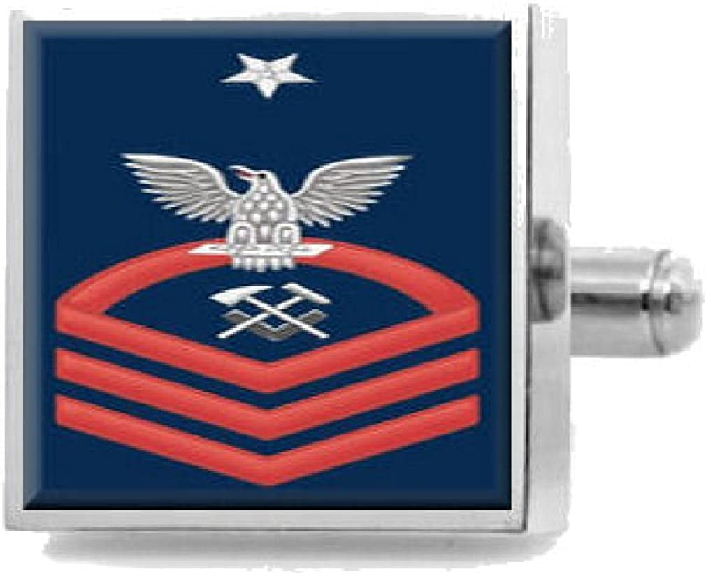 Select Gifts Engraved Cufflinks U.S Navy Senior Chief Red E-8 Hull Maintenance Technician HT
