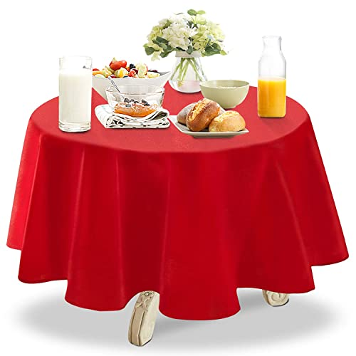 YEMYHOM Spill Proof Fabric Round Tablecloth For Dining Room, Wedding And  Party (60