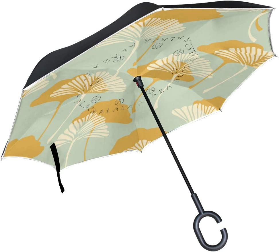 Japanese Style Ginkgo Biloba Leaves Double Layer Windproof UV Protection Reverse Umbrella With C-Shaped Handle Upside-Down Inverted Umbrella For Car Rain Outdoor