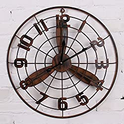 Wall Clocks The wind round iron metal industrial electric fan wall clock retro decorative murals,50×50cm,Rusty trumpet,beautify your home