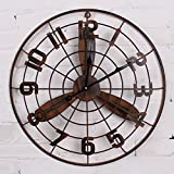 fan wall mirror - Wall Clocks The wind round iron metal industrial electric fan wall clock retro decorative murals,50×50cm,Rusty trumpet,beautify your home