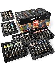 ARTEZA Set de pintura gouache | 60 tubos de 12 ml | Gouaches de colores opacos | Ideales para pintar lienzos, en papel de bocetos, o mezcladas con acuarela y medios mixtos