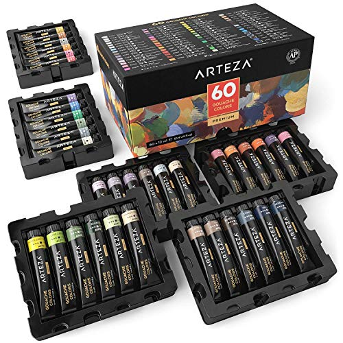 ARTEZA Gouache Paint, Set of 60 Colors/Tubes (12 ml/0.4 US fl oz) Opaque Paints, Ideal for Canvas Painting, Watercolor Paper, Toned Paper, or Using with Watercolors and Mixed -