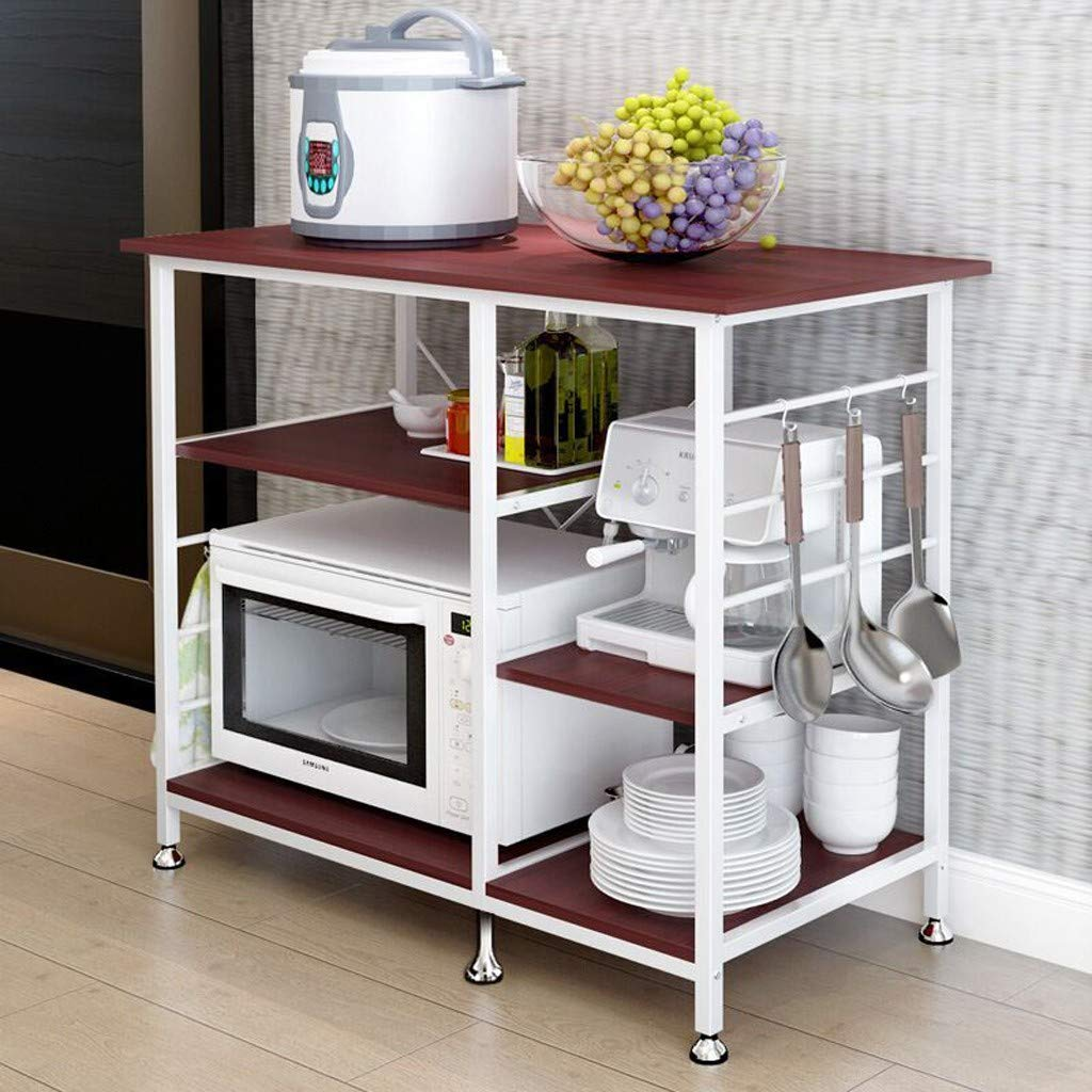 Excursion Home Simple 3-Tier Multifunctional Kitchen Baker's Rack Microwave Stand Oven Floor Shelf Storage Cupboard, Utility Workstation Shelf Storage Table, Easy Assembly (Red) by Excursion Home