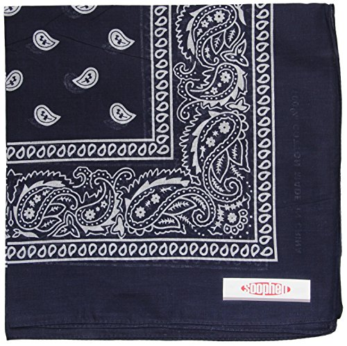 Soophen Paisley One Dozen Cowboy Bandanas (Navy Blue 22 X 22 in, 12-Pack) ()