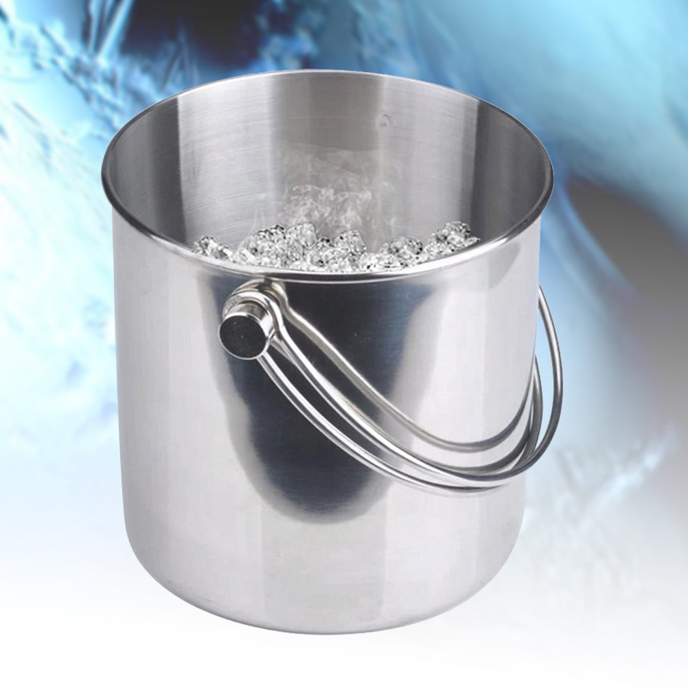 BESTONZON Premium Stainless Steel Ice Bucket with Strainer and Tong Beer Wine Champagne Cooler (2L) by BESTONZON (Image #2)