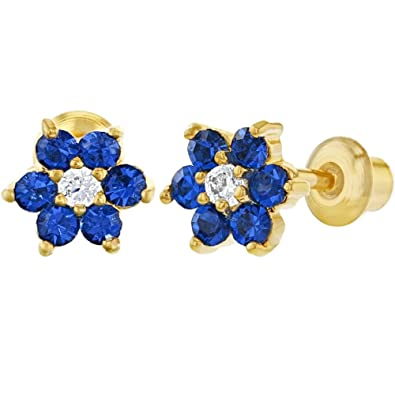 fbef3abd0 Image Unavailable. Image not available for. Color: 18k Gold Plated Navy Blue  Clear Crystal Flower Children Screw Back Earrings 5mm
