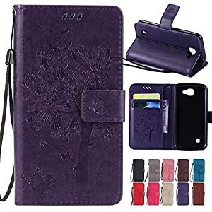 LG Optimus Zone 3 / LG K4 VS425 / LG Spree Case,, BestAlice Tree Cat Butterfly PU Leather Fold Wallet Stand Pouch Magnetic Wrist Strap Case Skin Cover , Purple