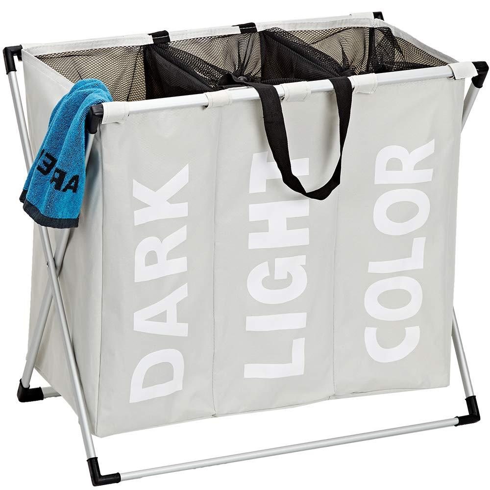 Foldable Hamper Divided Beige HOMEST Laundry Basket 3 Sections Large Dirty Clothes Hamper Sorter for Bathroom