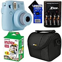 Fujifilm Instax Mini 8 Instant Film Camera (Blue) + Fujifilm Instax Mini Instant Film (20 sheets) + 4 AA High Capacity Rechargeable Batteries with Battery Charger + Well Padded Camera Case + HeroFiber Ultra Gentle Cleaning Cloth