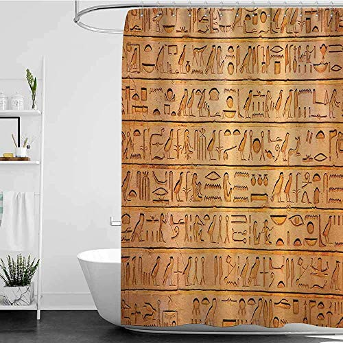 - YGUII Shower Curtains for Bathroom Small Egyptian Decor Hieroglyphics Great Pyramid Papyrus Ancient Stone Carving Cave Picture,Golden Brown 72 x 72 Inch(180x180cm,Shower Curtain for Women