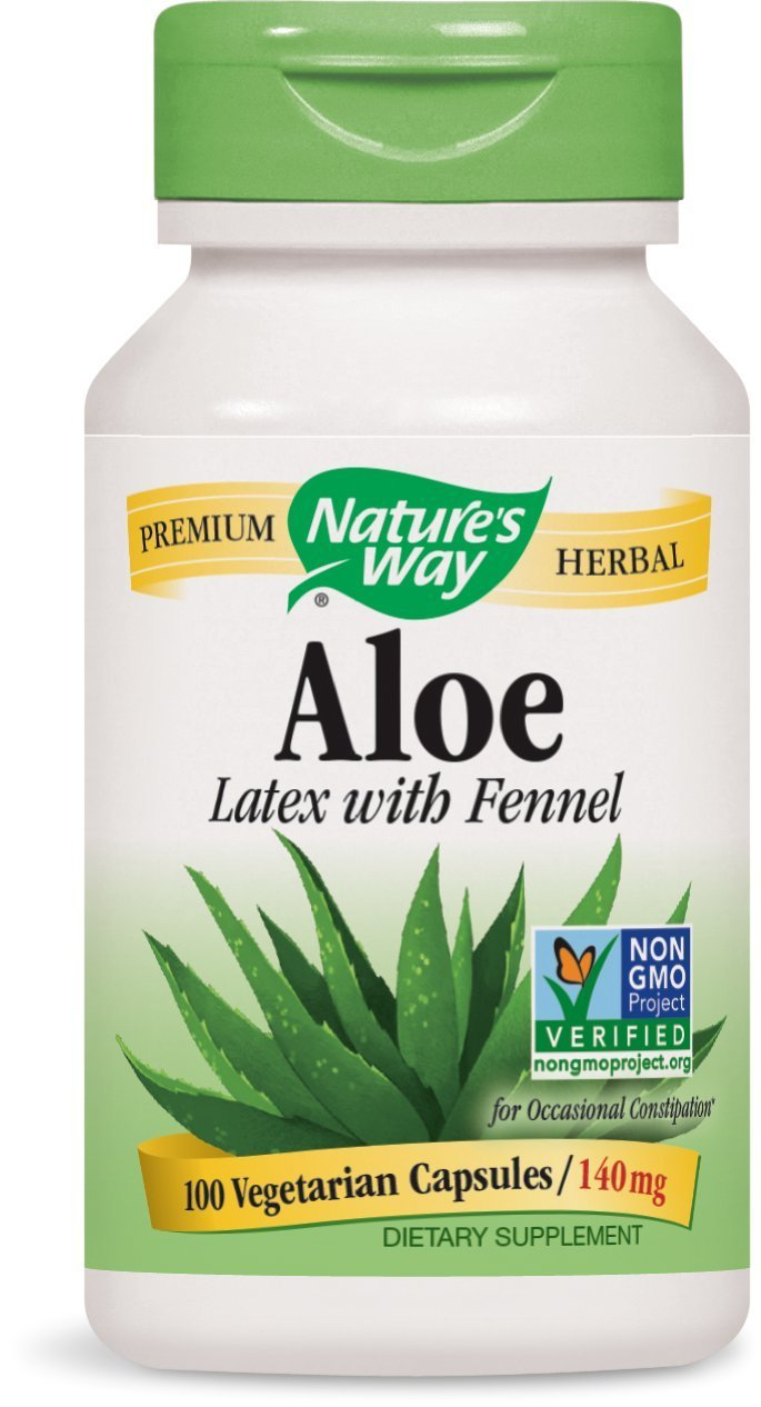 Natures Way Aloe Latex with Fennel 140 milligrams 100 Vegetarian Capsules. Pack of 3 bottles.