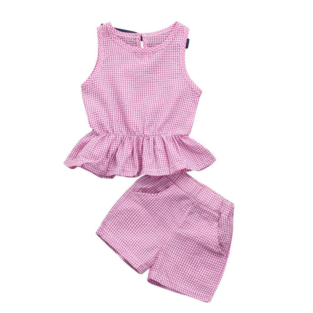 Jarsh Toddler Baby Girls 2Pcs Classic Plaid Printed Sleeveless Bow Vest Tops+Shorts Clothes Set