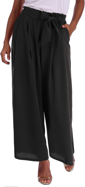 Pantalones Abollria Pantalones De Palazzo Para Mujer Elegantes Pantalones De Pierna Ancha Con Cintura Alta Casual Pantalon Anchos Con Cinturon Pants Ligero Y Sueltos Para Primavera Verano Ropa Lekabobgrill Com