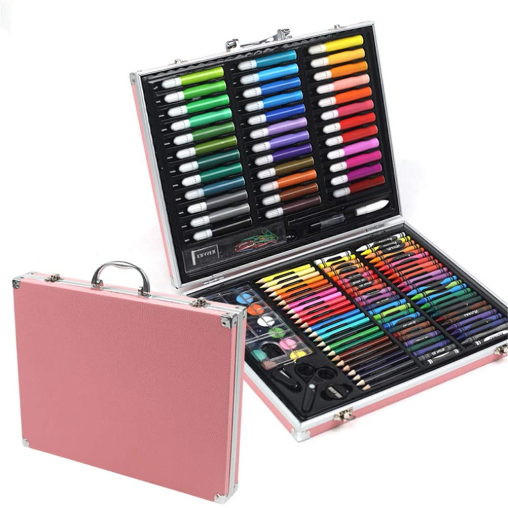 JIANGXIUQIN Artist Art Drawing Set, 150 Art Sets with Watercolor Paintings, Including A Free Reusable Plastic Suitcase. Gifts for Children and Children. (Color : Pink)