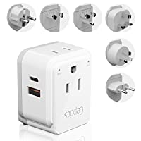 World Power Plug Adapter Travel Set Ceptics, Safe Dual USB & USB-C 3.1A 2 USA Outlet...