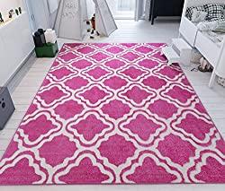 Modern Rug Pink 5'X7' Lattice Trellis Accent Area Rug Entry Way Bright Kids Room Kitchn Bedroom Carpet Bathroom Soft Durable Area Rug