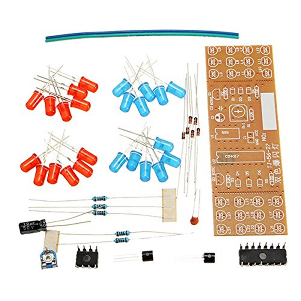FengYun NE555 CD4017 Rojo Azul LED Luces Intermitentes Kit Kit de Luces de Flash para DIY Electronics Set: Amazon.es: Electrónica