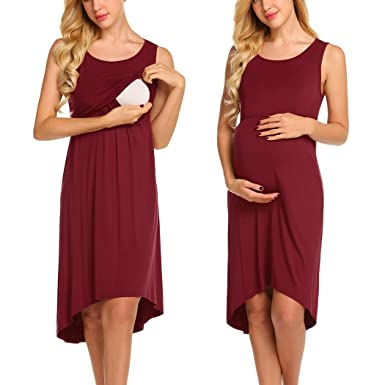 279d08463d4 Ekouaer Women Sleeveless Maternity Nursing Breastfeeding Nightgown Dress  (Wine Red S)
