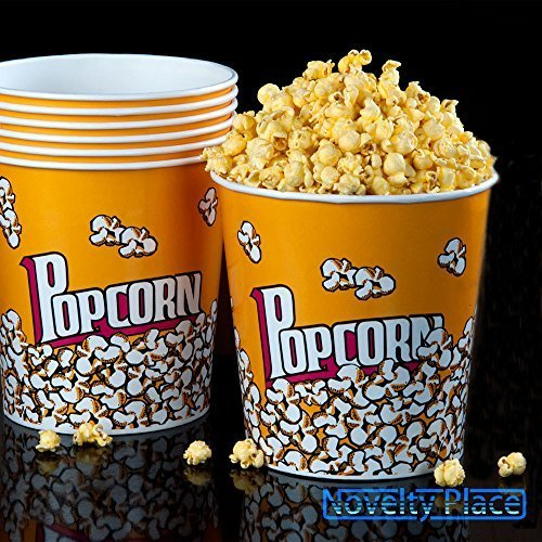 (Set of 3 Fun Movie Theater Style Plastic Popcorn Tubs - 8