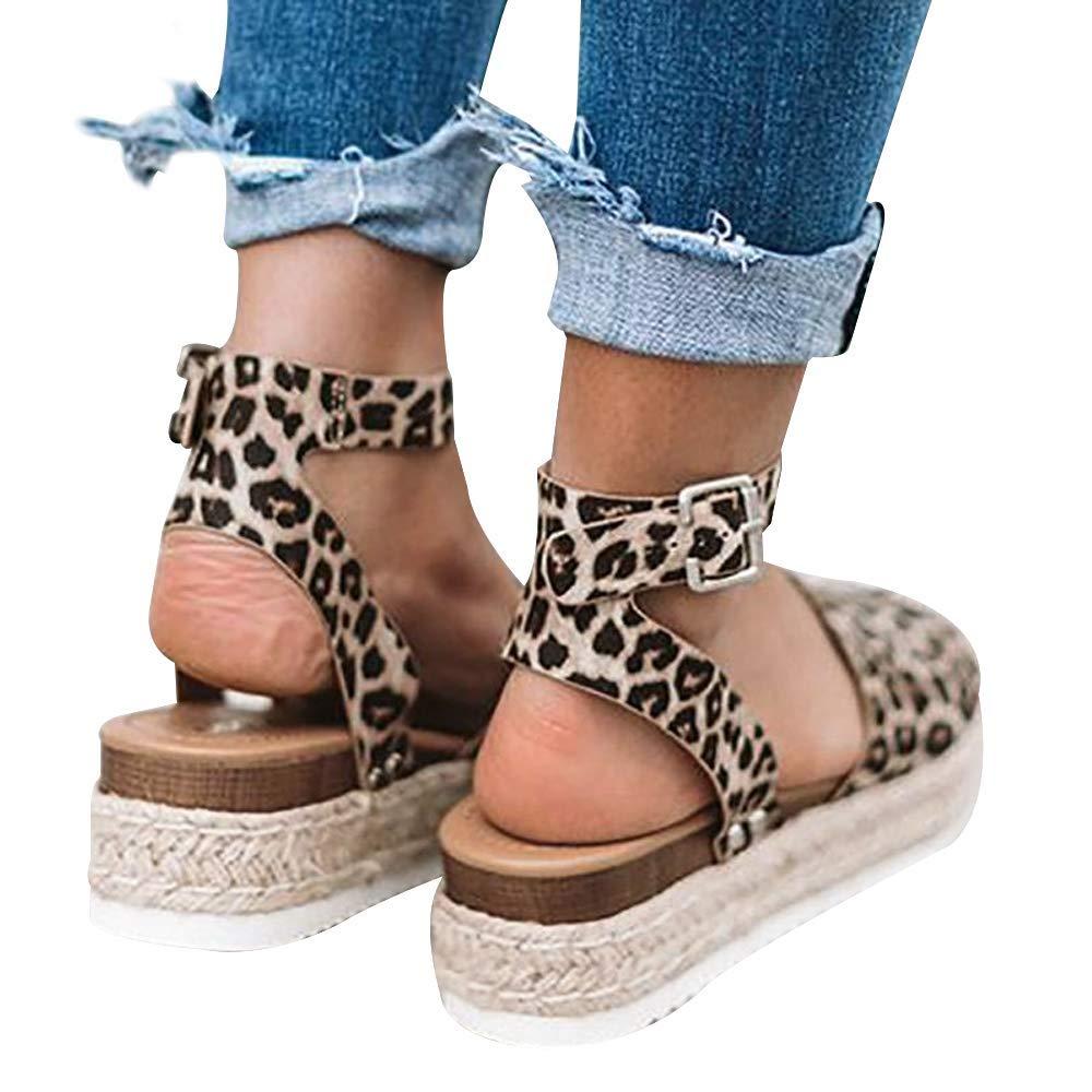 FIRENGOLI Sara Love Womens Wedges Sandal Open Toe Ankle Strap Trendy Espadrille Platform Sandals Flats Leopard 35