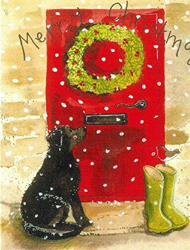 Alex Clark Art Labrador Wellies Red Door Christmas Card Set of 10 Cards