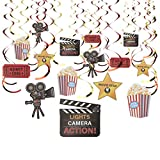 30-Count Swirl Decorations – Movie Night Decor Birthday Party Decorations, Ceiling Streamers, Hanging Whirls for Kids, 3 Assorted Colors - Hanging Length: 30 – 37 Inches