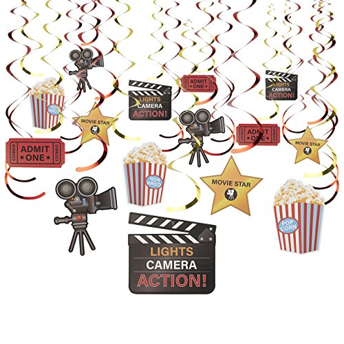 30-Count Swirl Decorations - Movie Night DecorBirthday Party