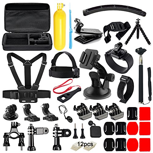 Soft Digits 50 in 1 Action Camera Accessories Kit for GoPro Hero 6 5 4 3 with Carrying Case/Chest Strap/Octopus Tripod (Surfboard Gopro Mount)