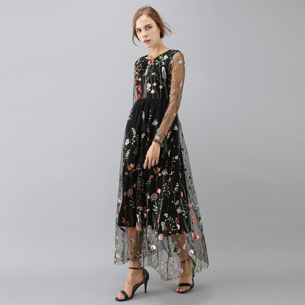 3426490930 Chicwish Women  s Floral Embroidery Flower Maxi Black Mesh Tulle Tutu Dress  Medium at Amazon Women s Clothing store