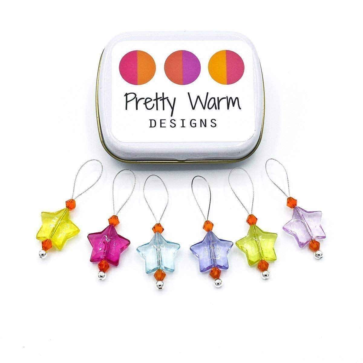 Acrylic Stars Snag Free Stitch Markers Jewelry for Knitting (Set of 6 with Tin)