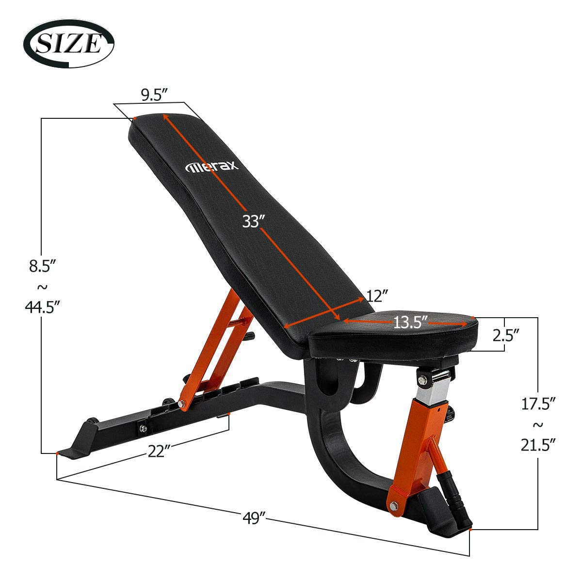 Merax Adjustable Weight Bench 600 LBS Weight Capacity 6 Position Incline Decline Utility Bench with High Density Foam Padding for Home Gym Strength Training