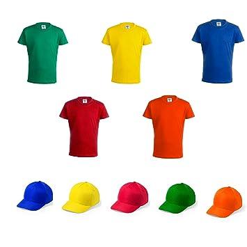 Camiseta + Gorra Infantil de Colores. Lote de 20 Unidades ...