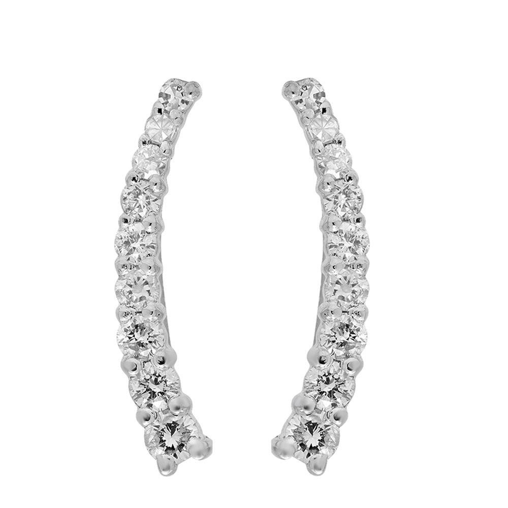 0.25 Carat (Ctw) 14k White Gold Round White Diamond Ladies Crawler Climber Earrings