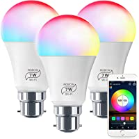 WiFi Bulb No Hub Required, Zombber Dimmable Multicolor B22 Bayonet A19 7w (60w Equivalent) App Control Smart Light, Compatible with Alexa Google Home Siri IFTTT (3 Pack)
