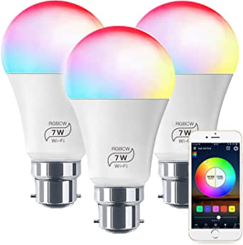Smart Light No Hub Required, Zombber B22 A19 7w (60w Equivalent) 2700k-6500k White and Color Changing WiFi Light Bulb, Compatible with Alexa Google Home Siri IFTTT (3Pack)